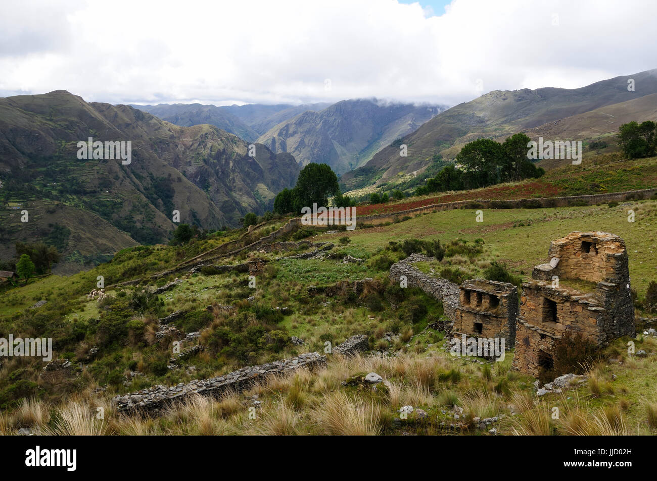 Peru, Piruro ruins near Tantamayo. Tantamayo was capital of the preColumbian Yarowilca culture, one of the olest - Stock Image