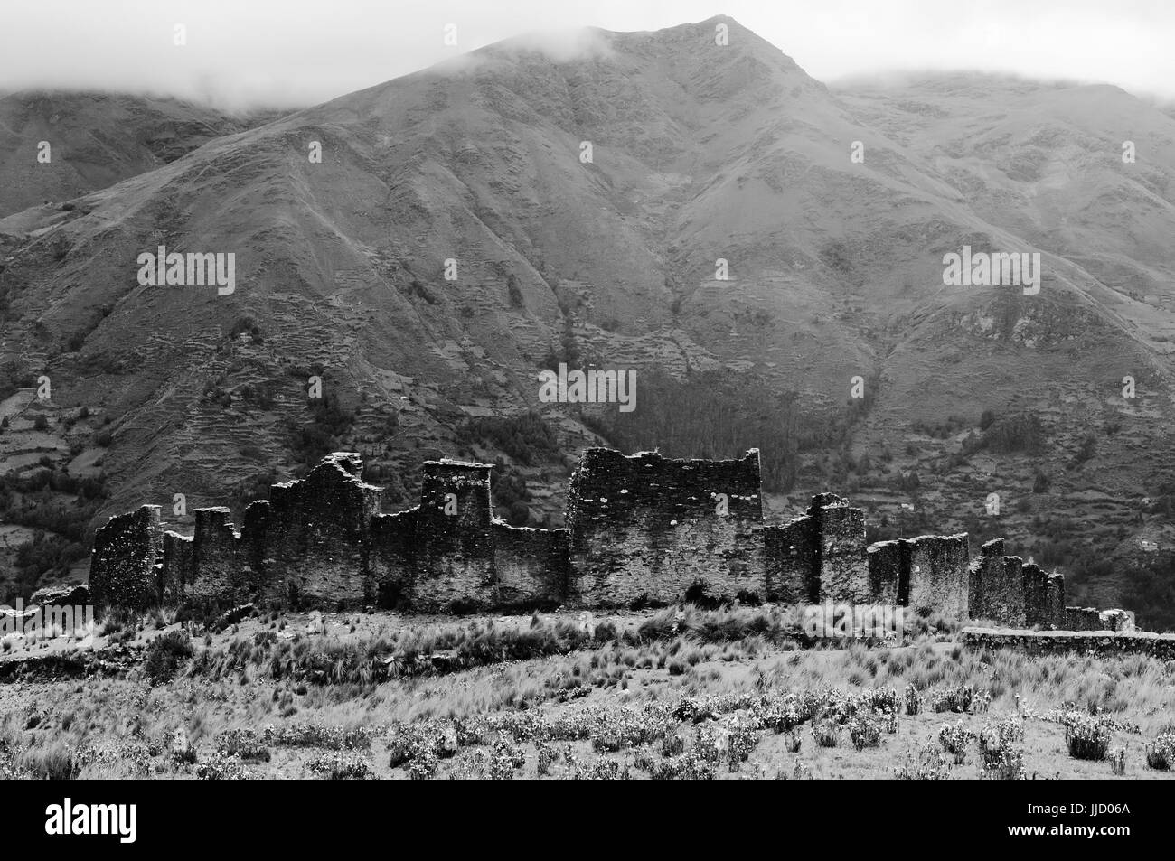 South America - Piruro ruins near Tantamayo. Tantamayo was capital of the preColumbian Yarowilca culture, one of - Stock Image