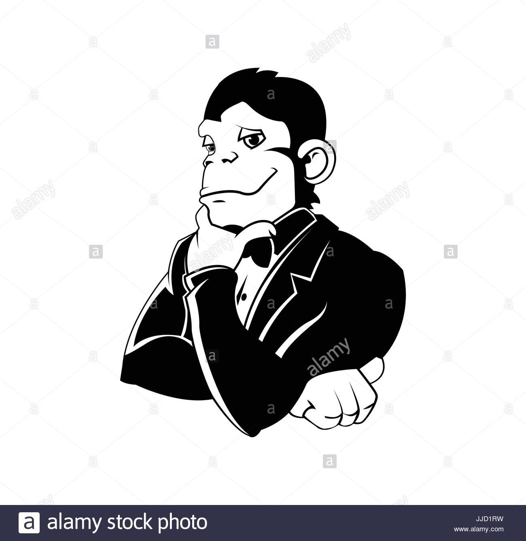 Elegant monkey in a tux - Stock Image