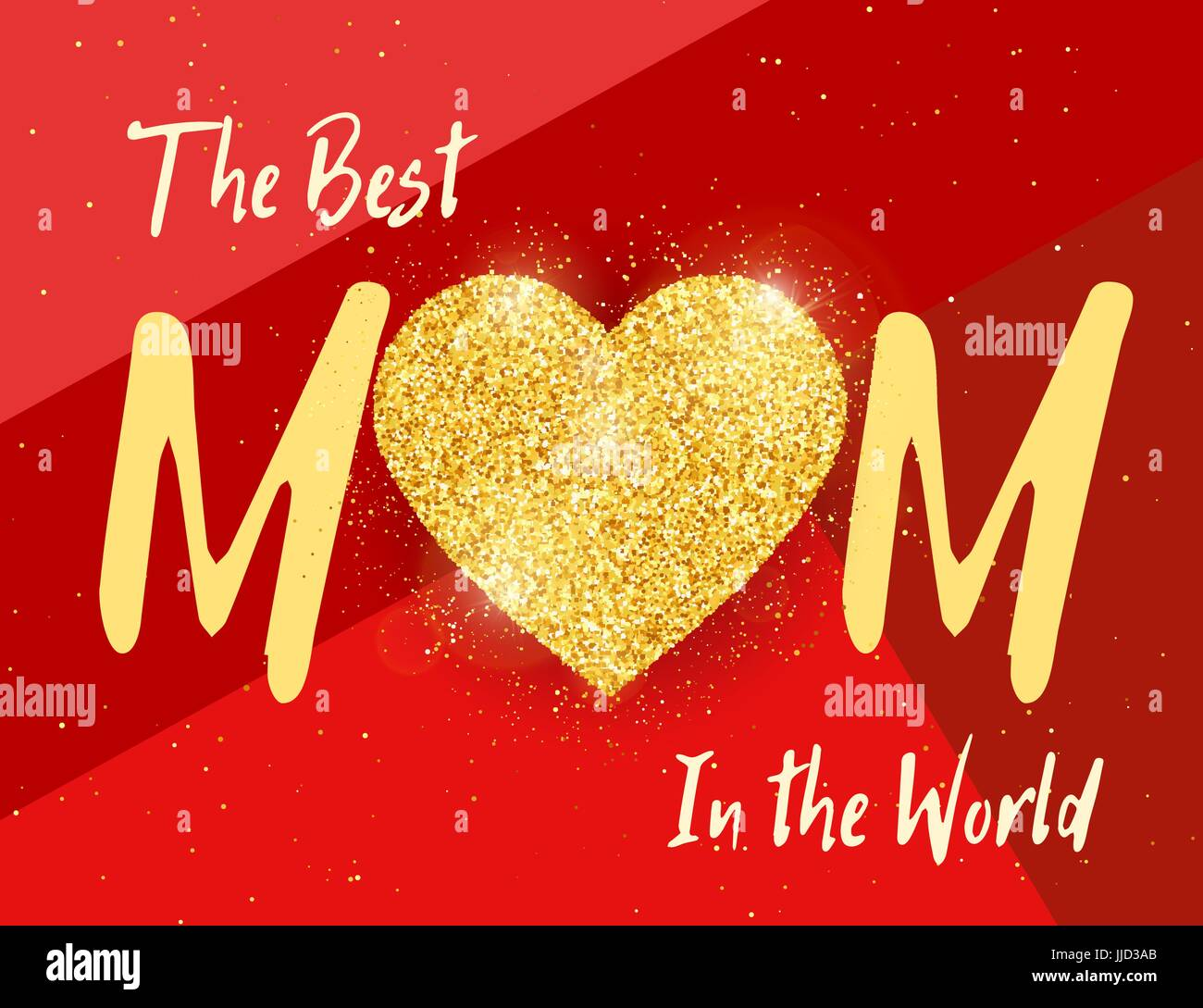 Best Mom In The World Happy Mothers Day Greeting Card With Gold
