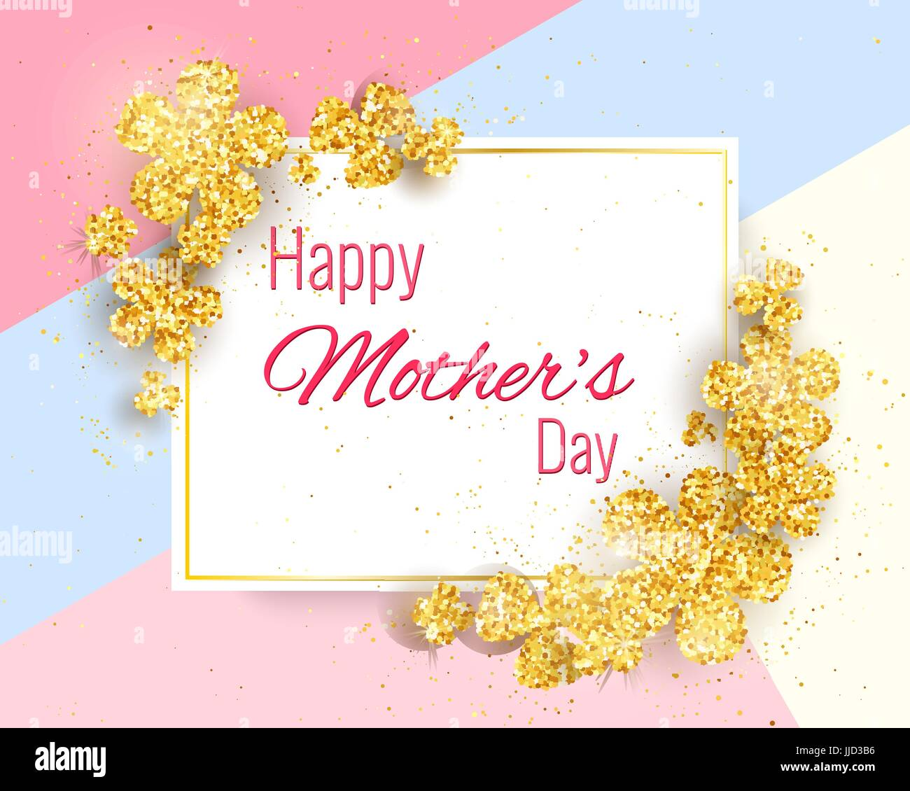 Happy mothers day greeting card with gold glittering flowers. Vector ...