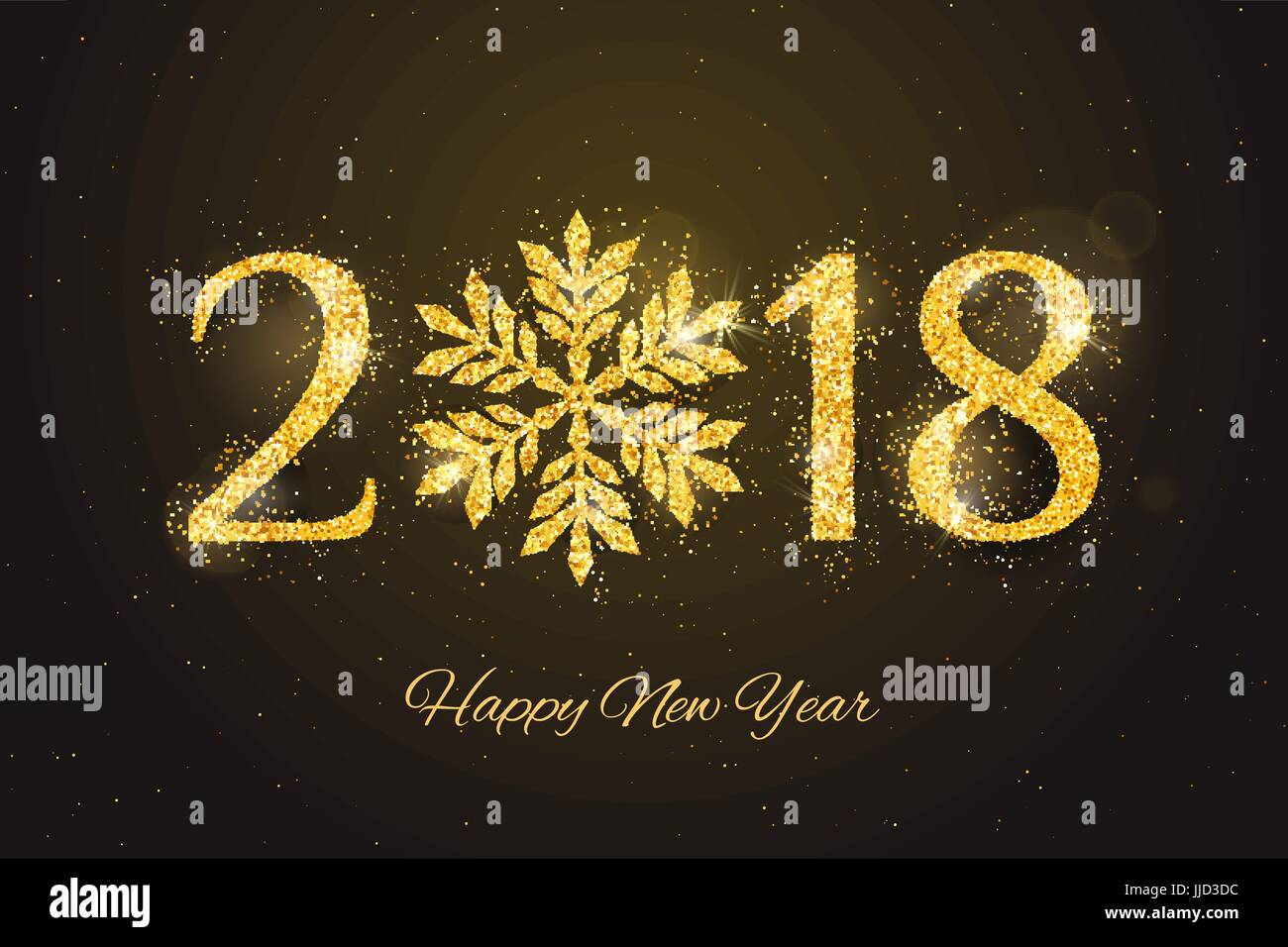 vector 2018 happy new year and merry christmas greeting card with sparkling glitter golden textured snowflake seasonal holidays background