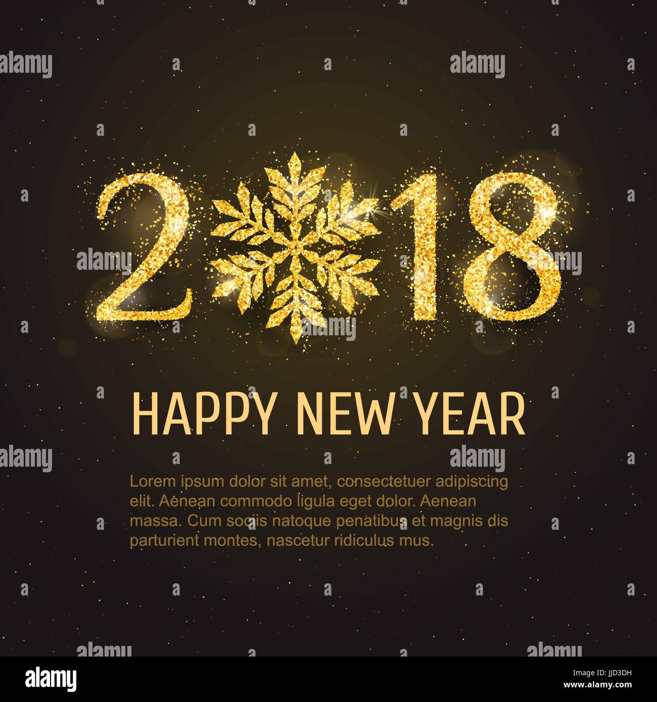 vector 2018 happy new year and merry christmas greeting card template with sparkling glitter golden textured snowflake seasonal holidays background