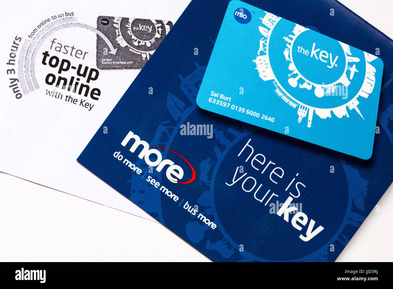 More buses the key smartcard to purchase bus tickets online in advance and get discounts - Stock Image