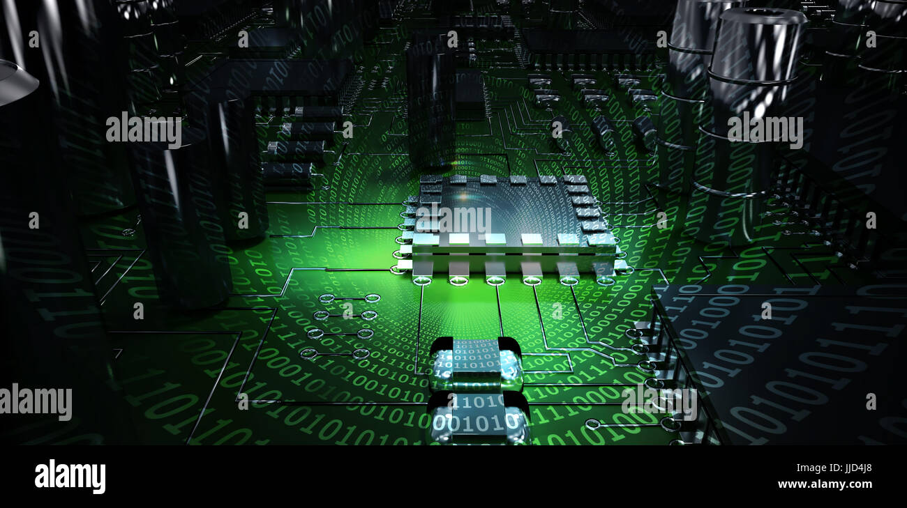 Binary Code Digital Tunnel Money Stock Photos On Circuit Board Spiral Of Shiny Against Close Up Image