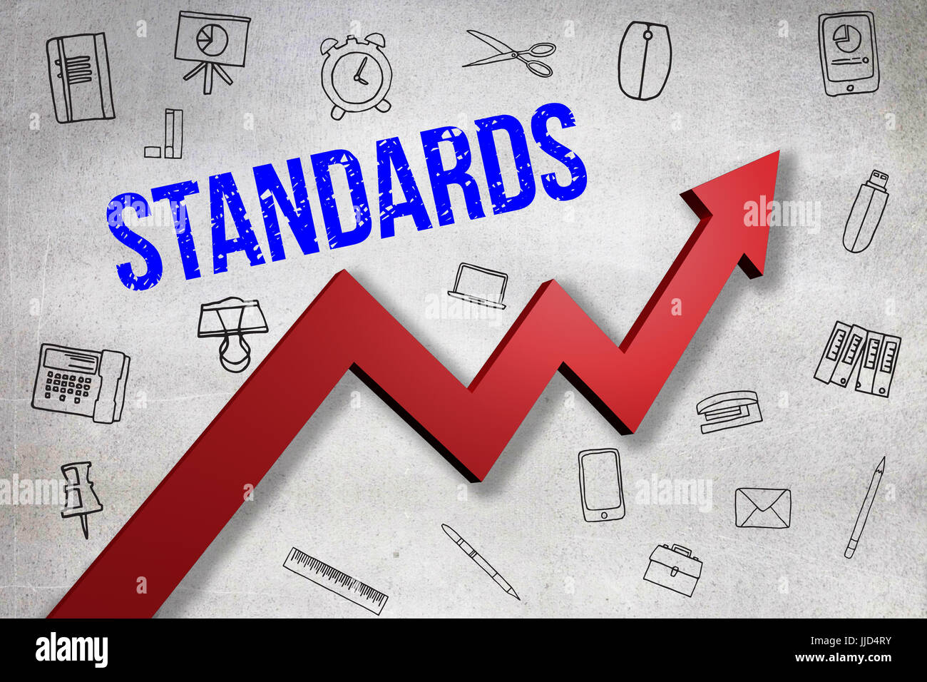 Digitally generated image of Standards text  against black wall - Stock Image