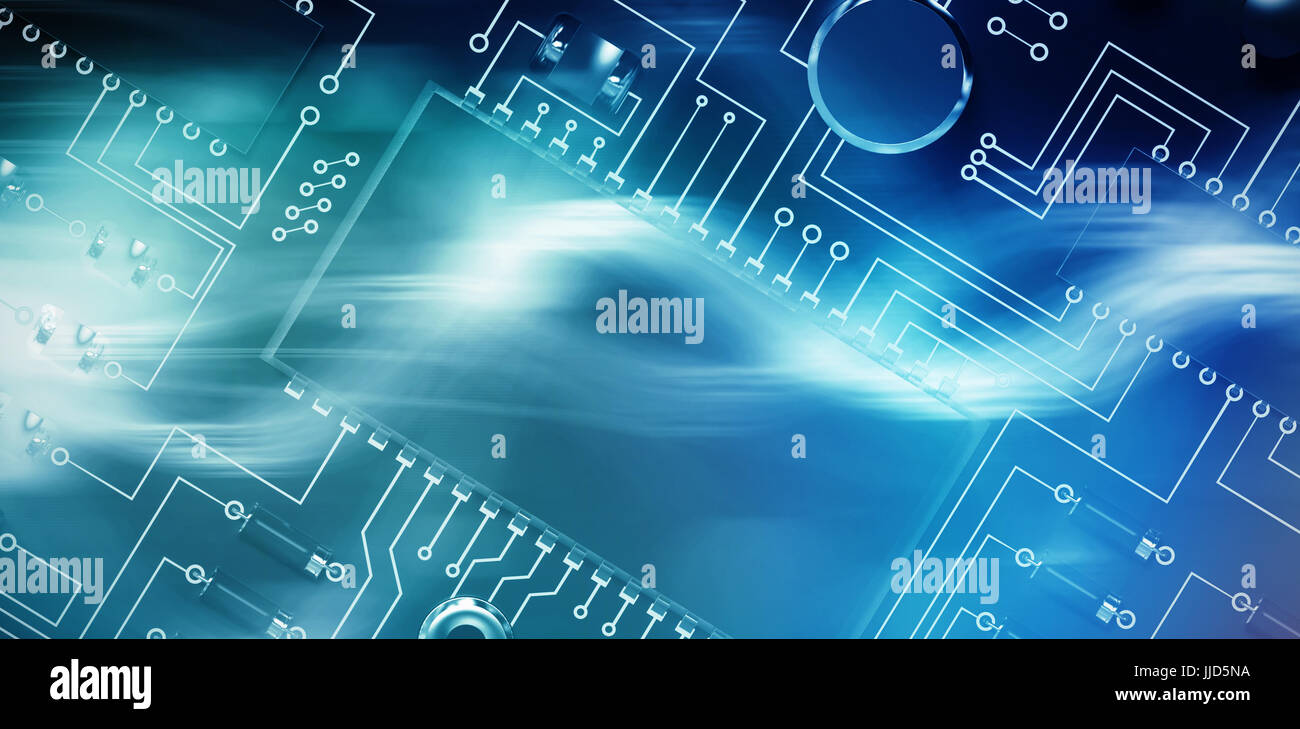 Close up of circuit board against curved laser light design in purple - Stock Image