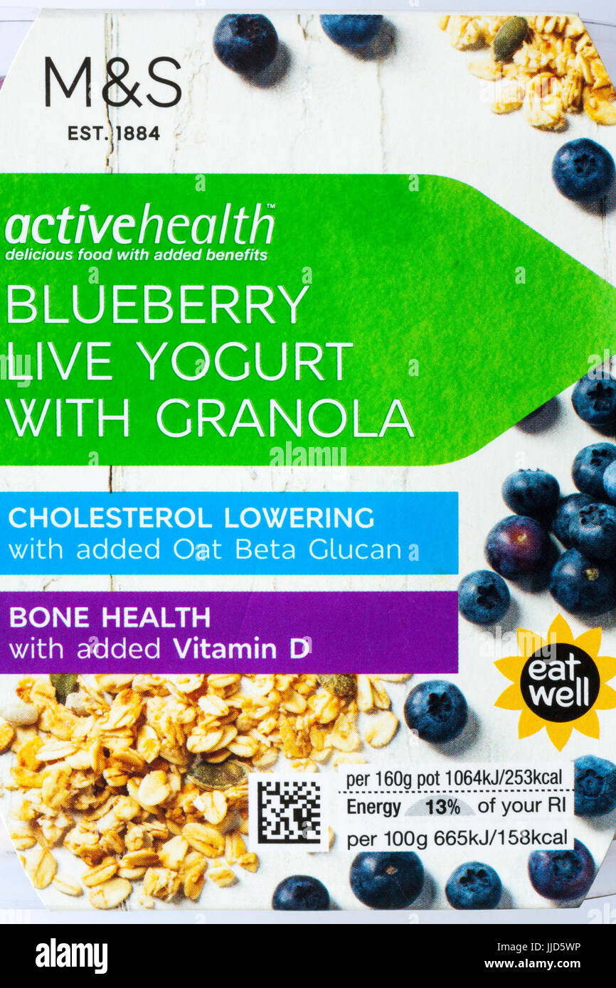 M&S activehealth Blueberry live yogurt with granola delicious food with added benefits - Cholesterol lowering - Stock Image