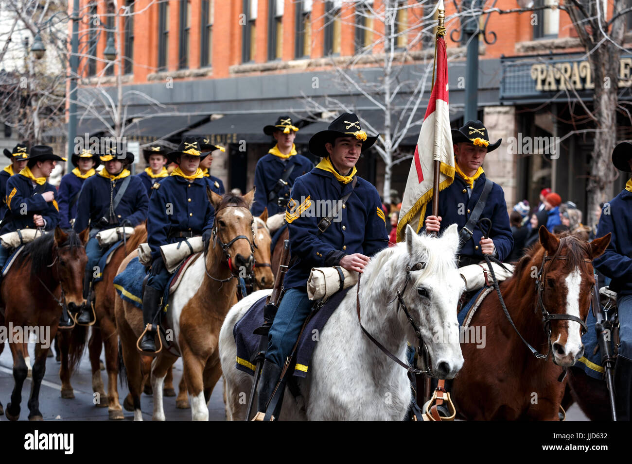 Westernaires Calvary on horses, National Western Stock Show Kick-Off Parade, Denver, Colorado USA - Stock Image