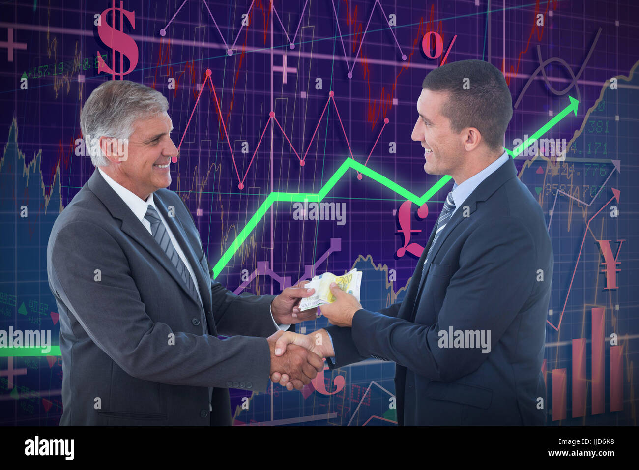 Businessmen shaking hands and exchanging money against red arrow - Stock Image