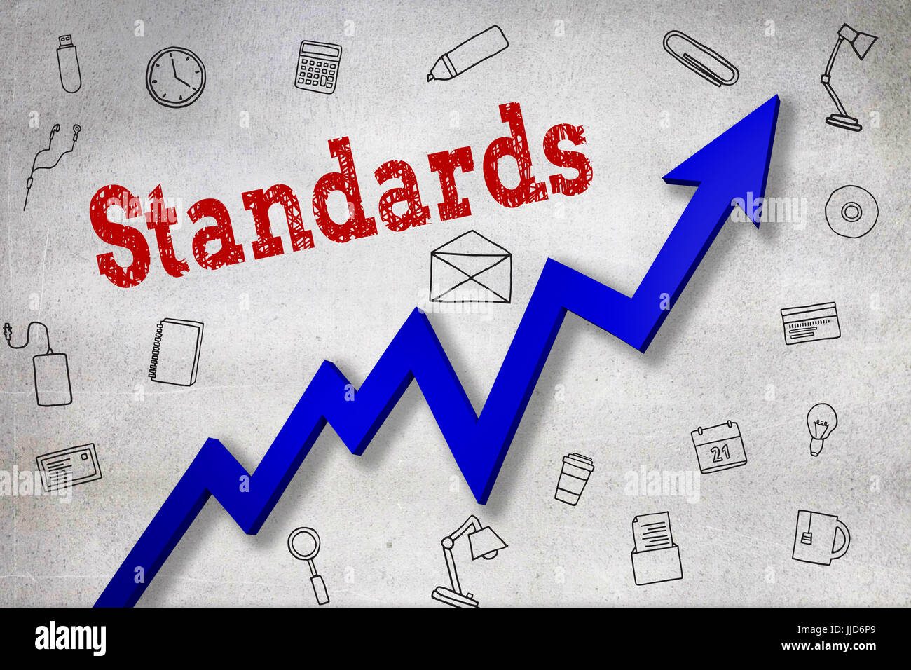 Close up of Standards text  against black wall - Stock Image