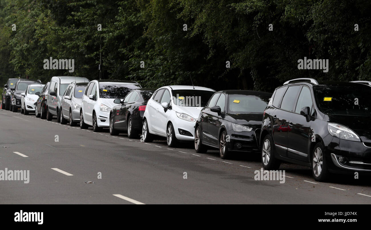 Penalty charge notices affixed to several cars left in restricted penalty charge notices affixed to several cars left in restricted parking bays on a road near gatwick airport as dozens of people have flown back to the m4hsunfo