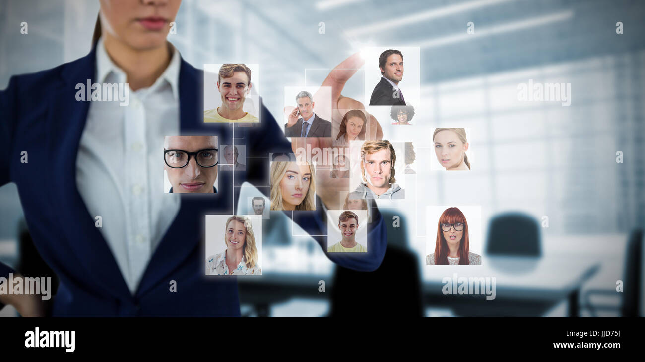 Composite image of headshots against computer generated image of empty board room - Stock Image