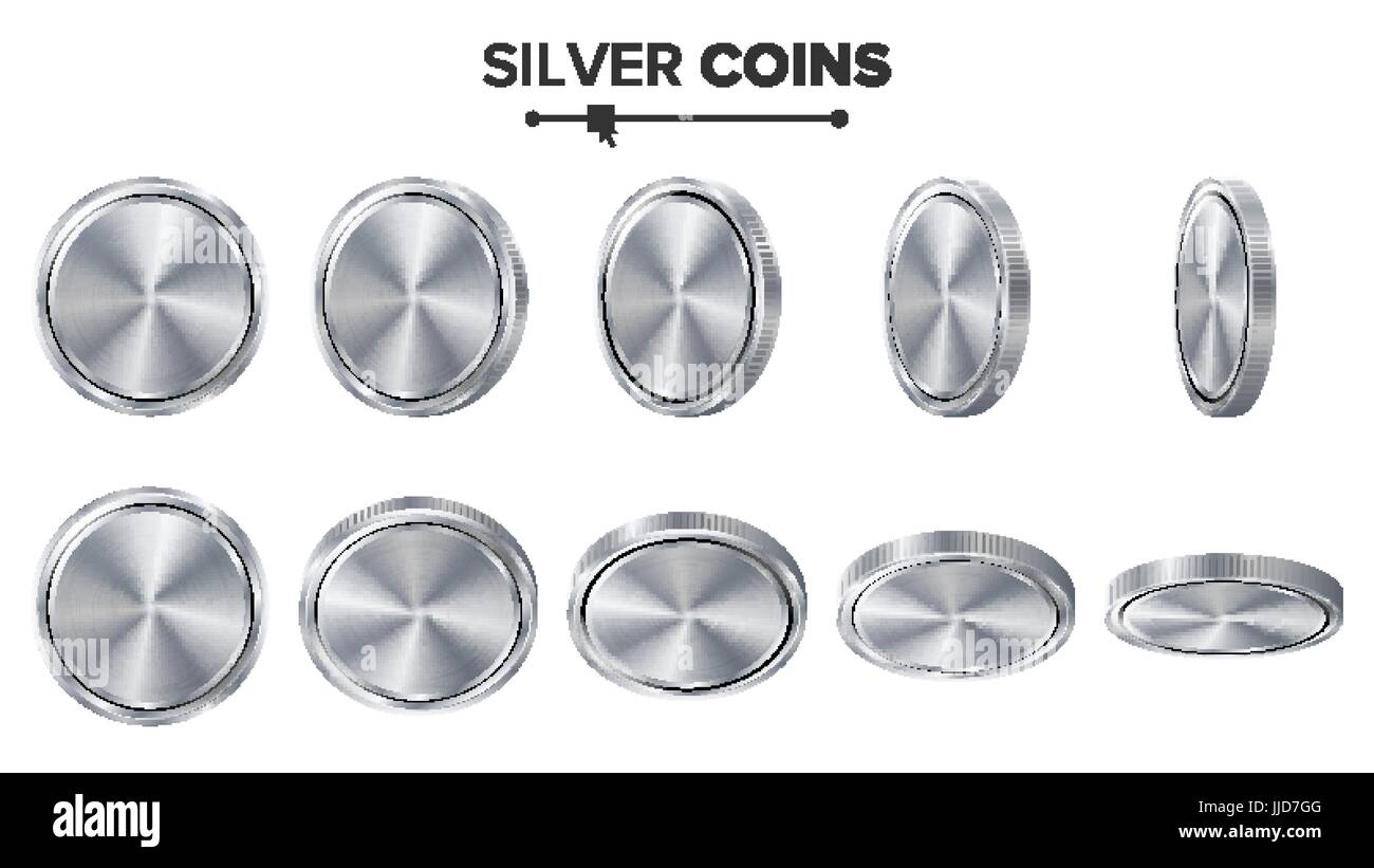 empty 3d silver coins vector blank set realistic template flip