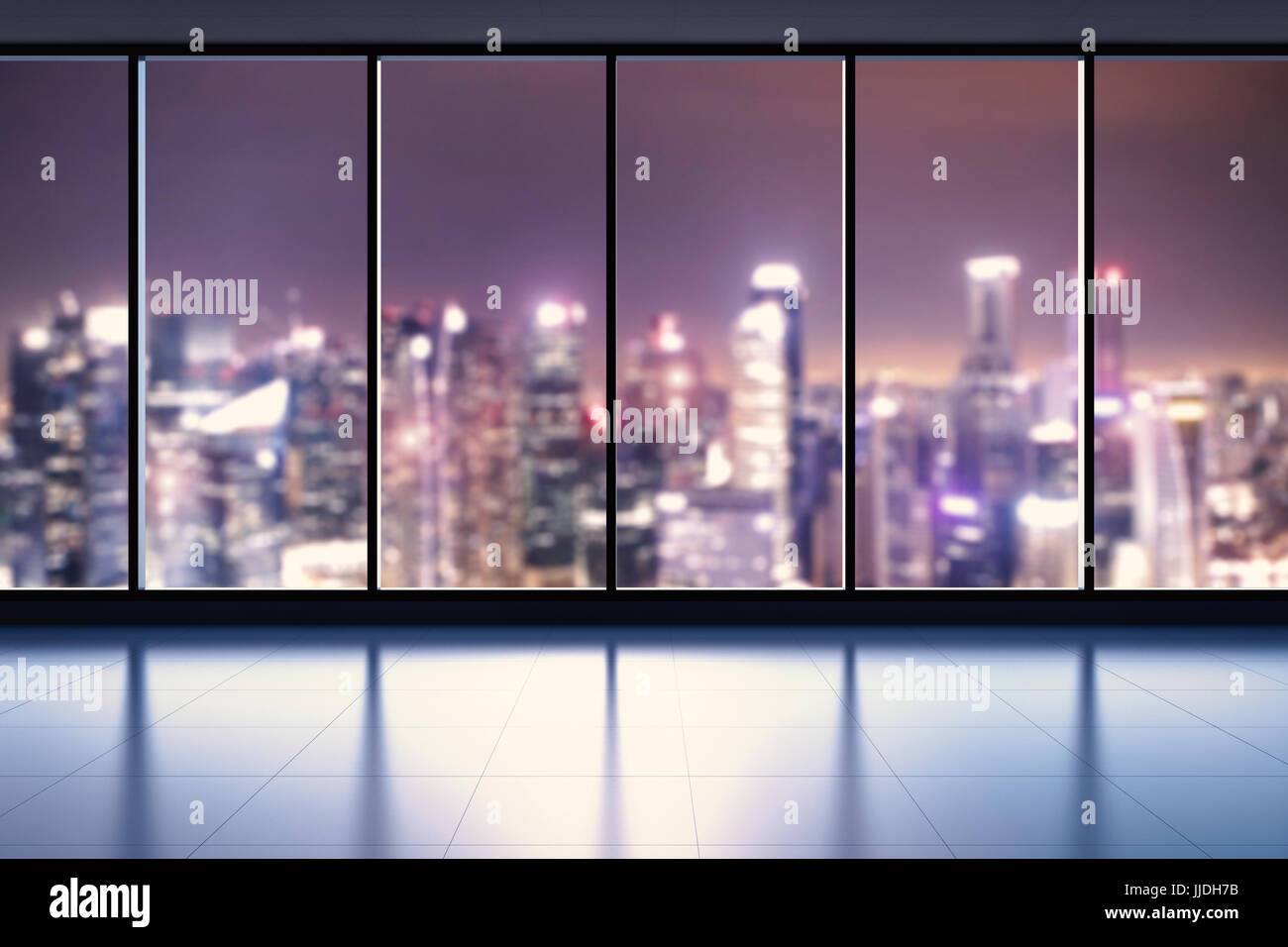 office glass windows. 3d Rendering Empty Office Space With Glass Windows O
