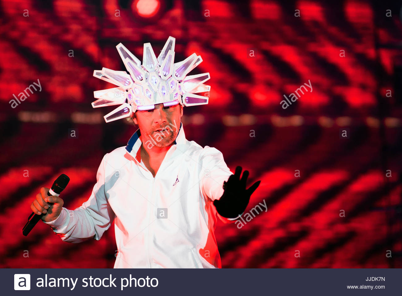Jamiroquai (singer Jay Kay) performing live at Musilac summer festival in Aix les Bains, France. 16th July, 2017 - Stock Image