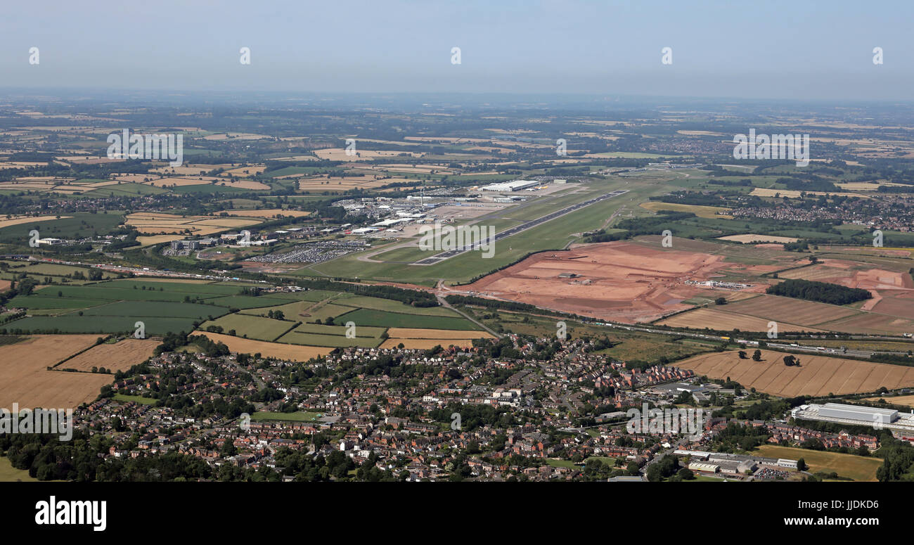 aerial view of East Midlands Airport, UK - Stock Image