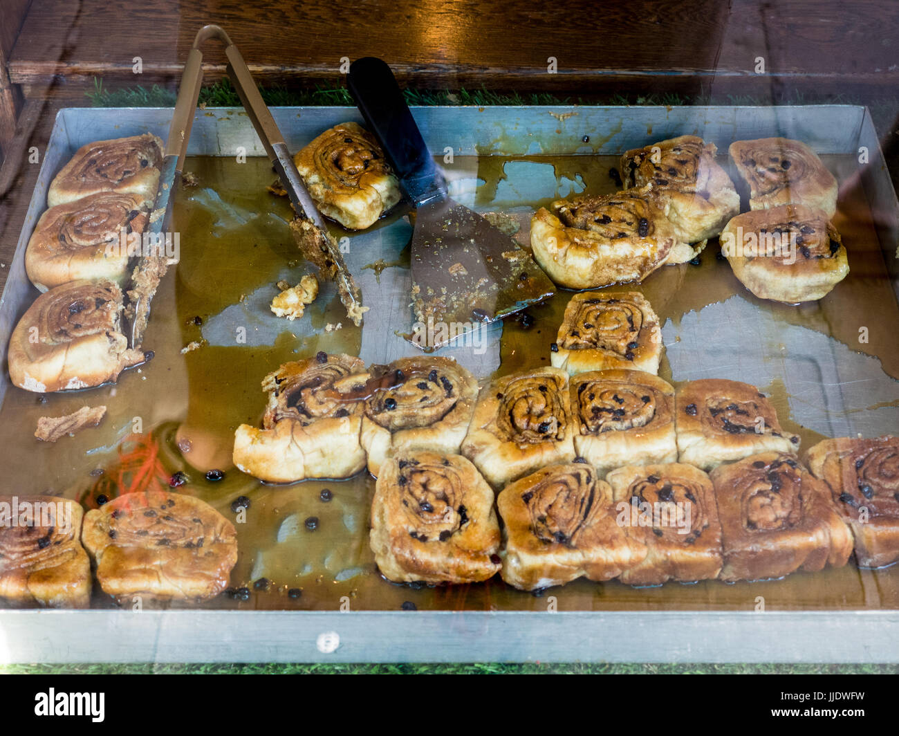 Chelsea or Sticky Buns in the window of Fitzbillies tea shop and restaurant in Cambridge UK Stock Photo