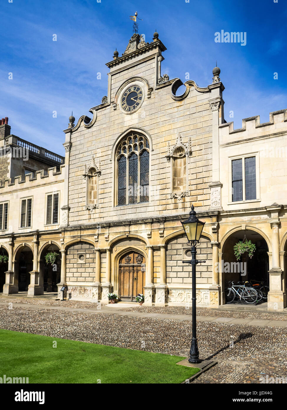 Cambridge - The Clock Tower of Peterhouse College, part of the University of Cambridge. The college was founded - Stock Image