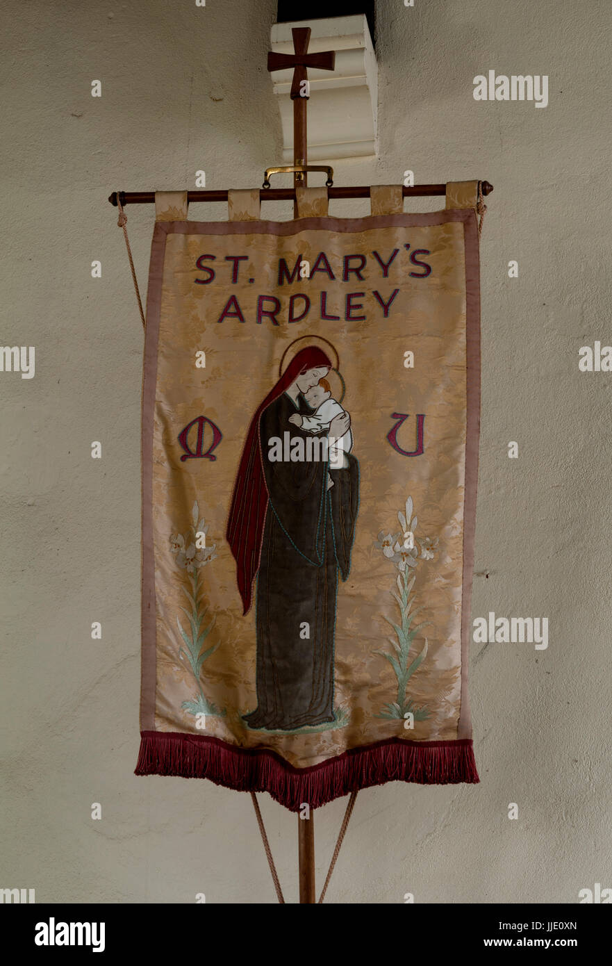 Mothers Union banner, St. Mary`s Church, Ardley, Oxfordshire, UK - Stock Image
