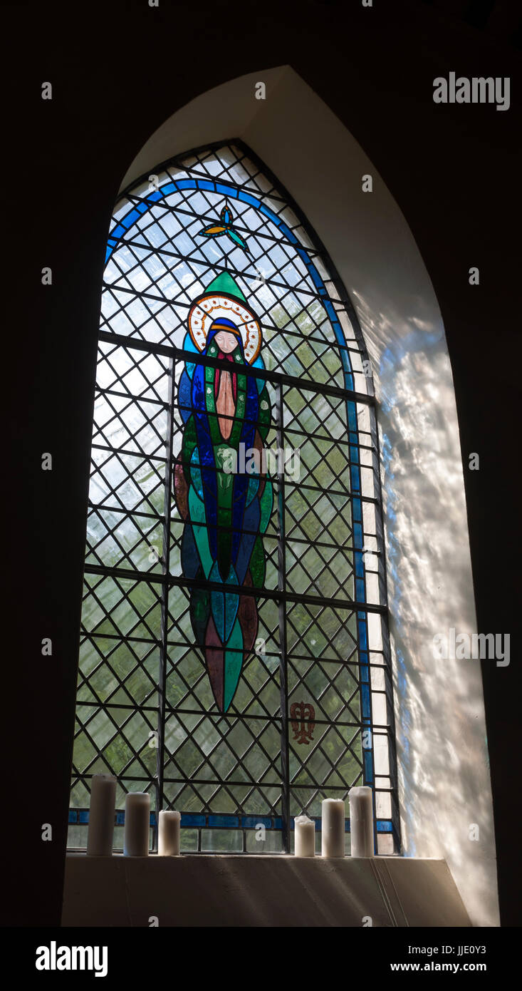 Saint Mary stained glass, St. Mary`s Church, Ardley, Oxfordshire, UK - Stock Image
