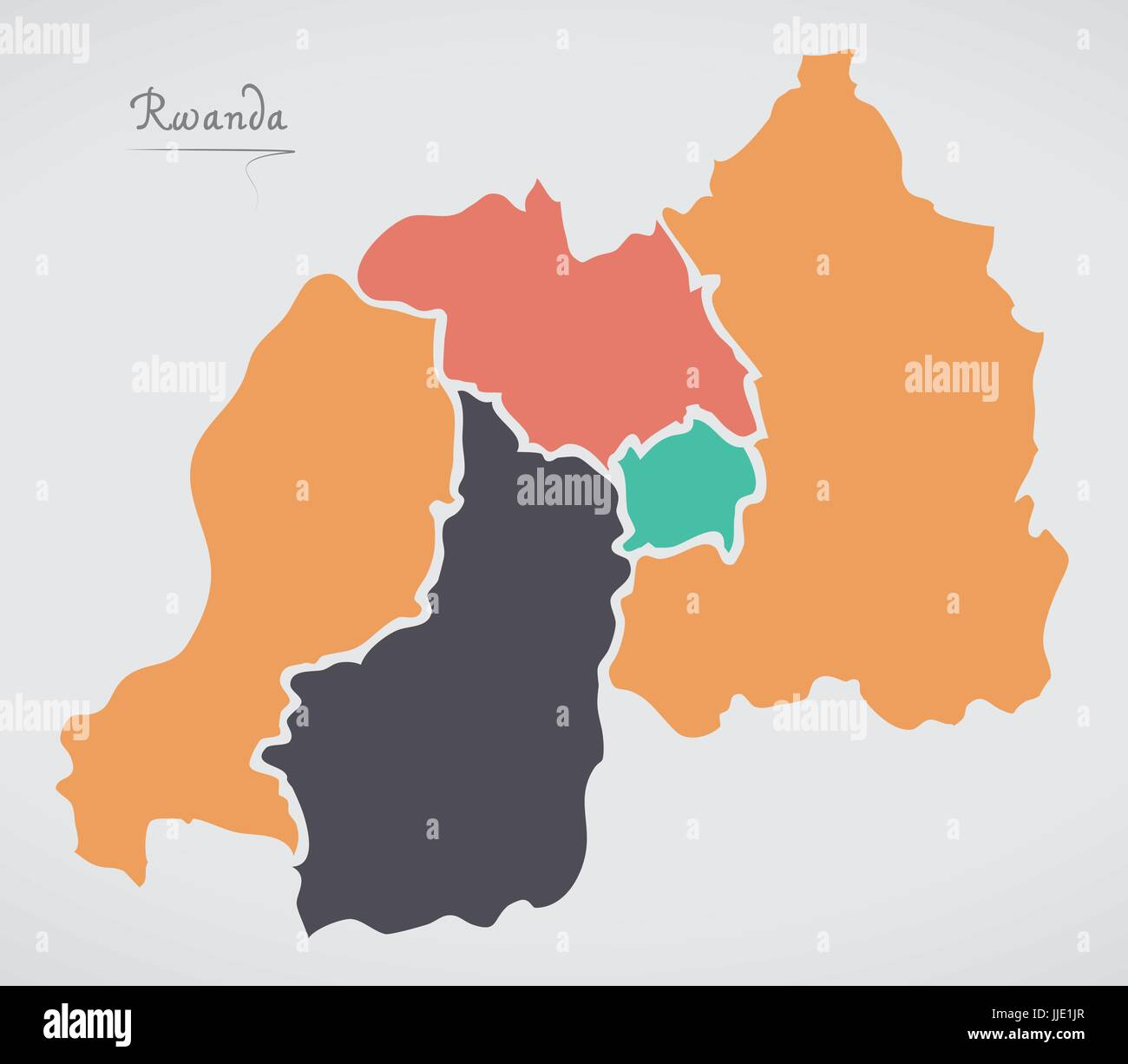 Rwanda Map with states and modern round shapes - Stock Vector