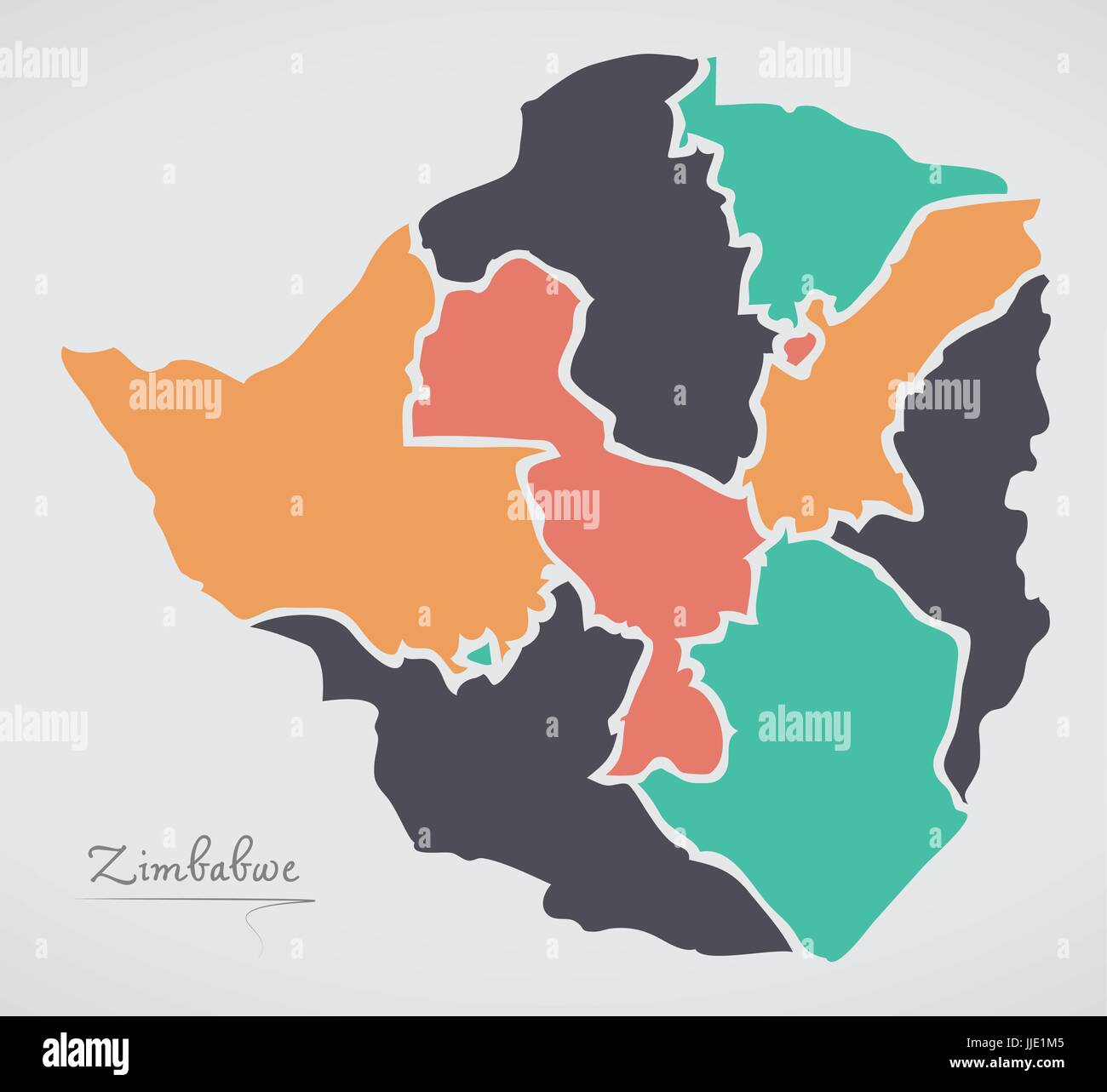 Zimbabwe map with states and modern round shapes stock vector art zimbabwe map with states and modern round shapes gumiabroncs Image collections