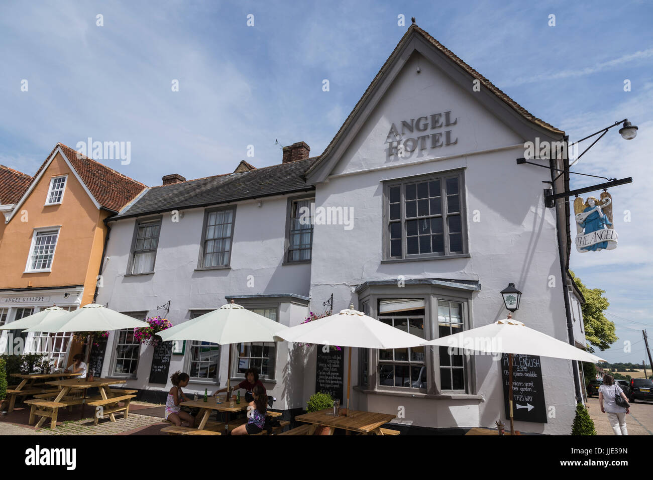 Angel Hotel in Lavenham on a Sunny Summer Day Stock Photo