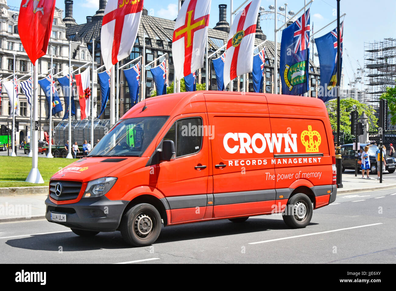 Red van of Crown Records Management company that manages archiving & retrieval of corporate information in physical - Stock Image