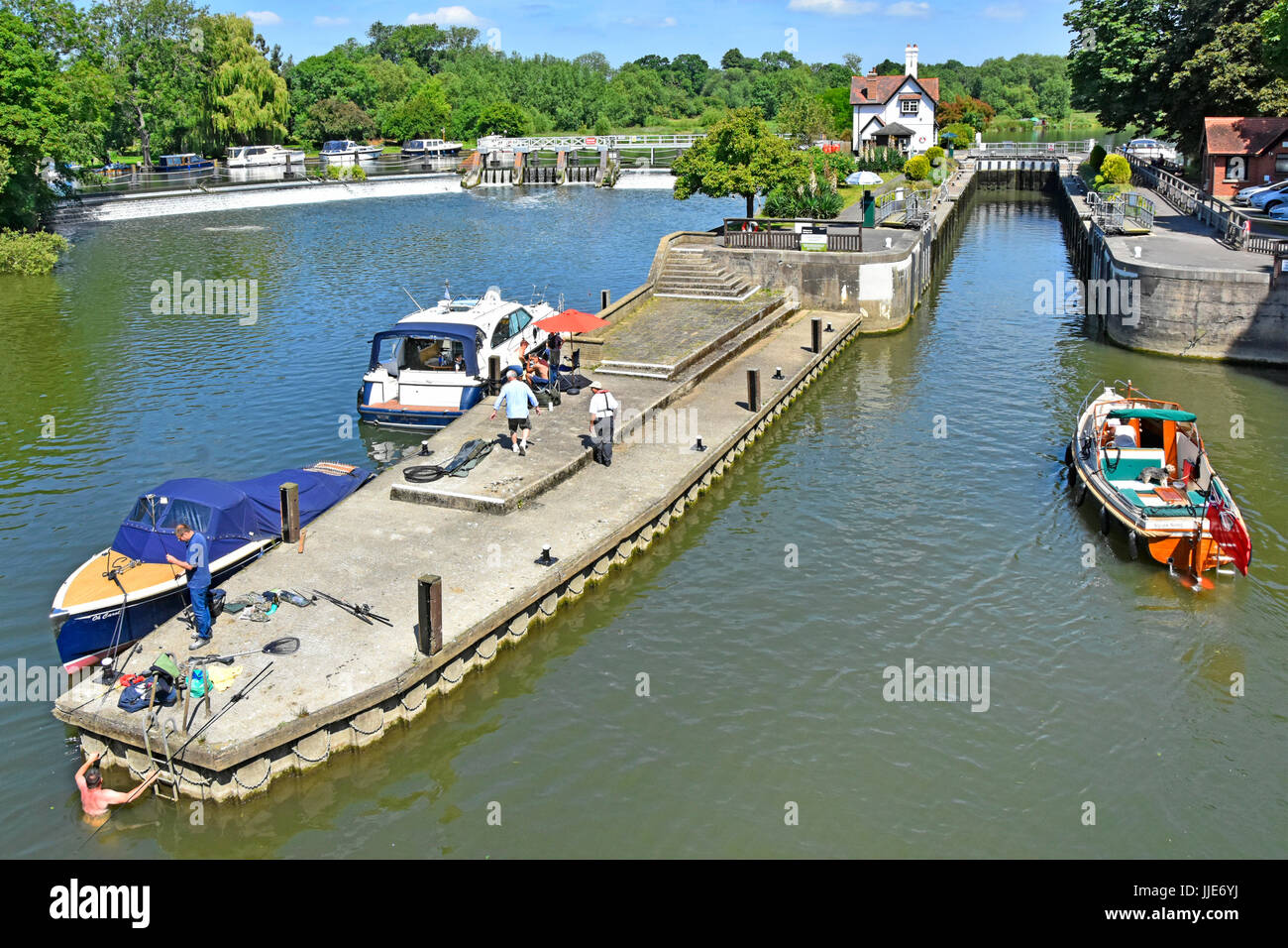 Looking down from above at approach to Goring Lock on River Thames in Oxfordshire & weir with Streatley & - Stock Image