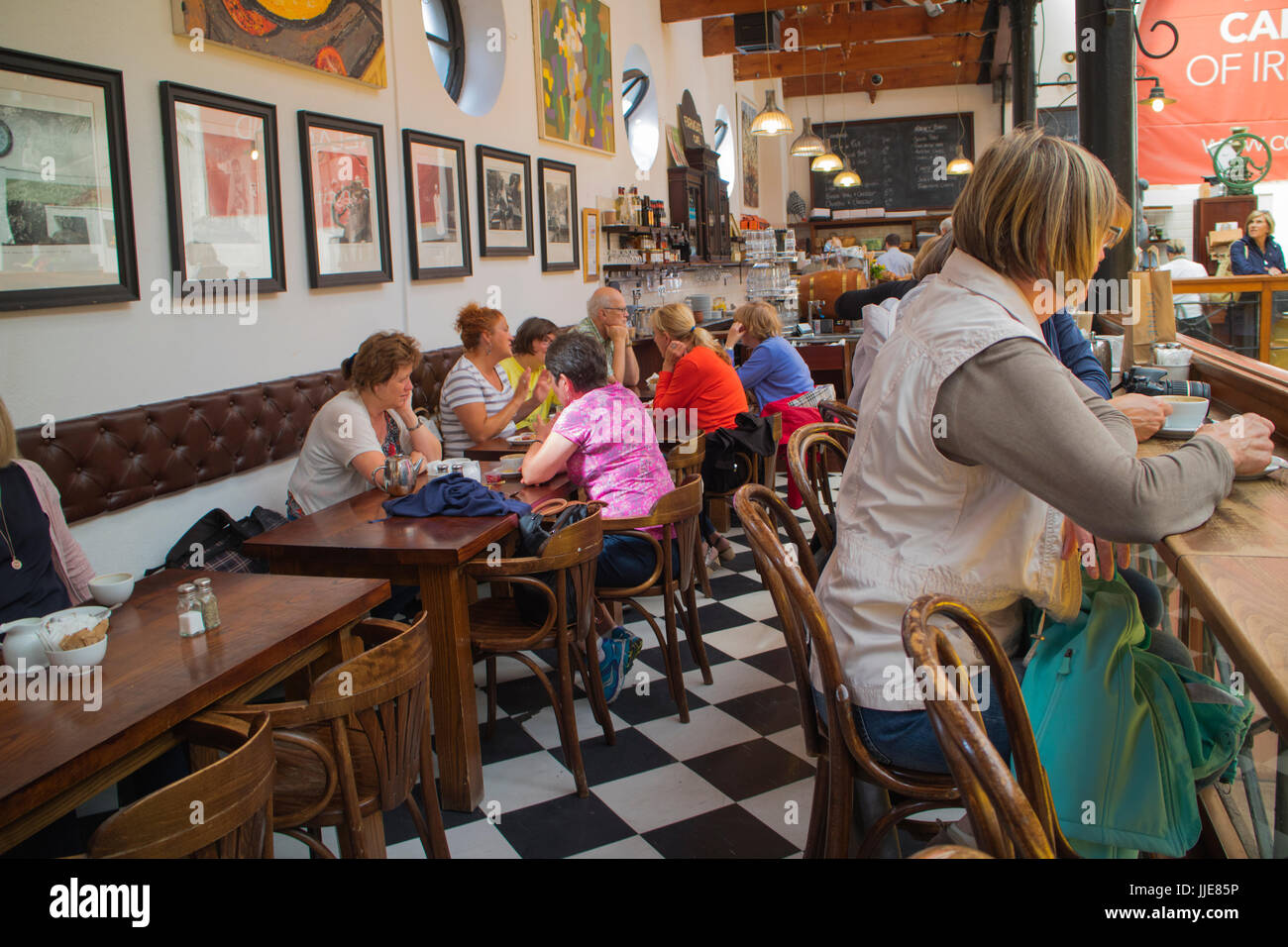 A cafe in the English Market, a popular visitor attraction in Cork, southern Ireland. - Stock Image