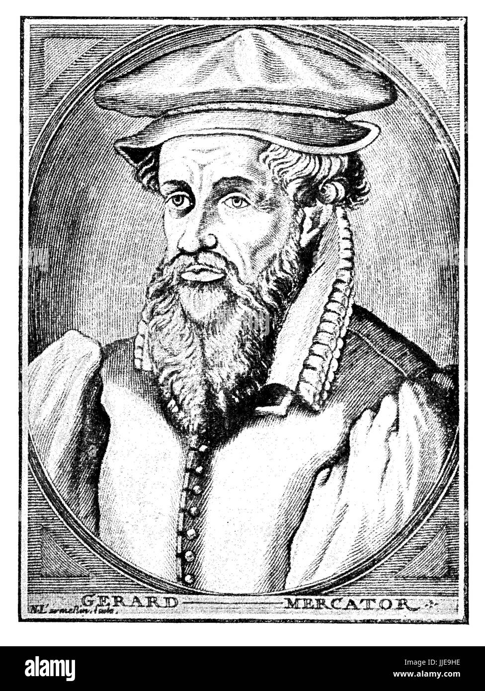 Portrait of Gerardus Mercator, german-flemish carthografer,created in 1569 the first world map with a new projection - Stock Image