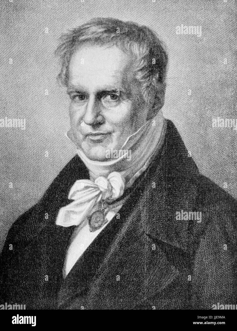 Portrait of Friedrich Wilhelm Heinrich Alexander von Humboldt Prussian geographer, naturalist, explorer and exponent - Stock Image