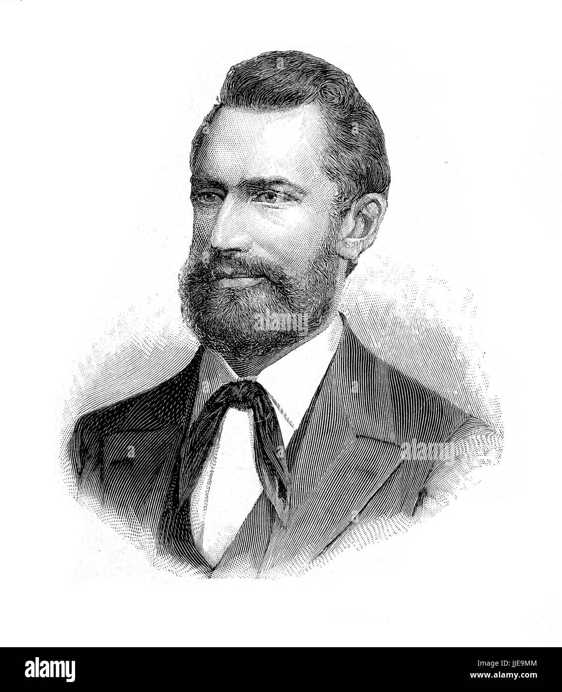 Portrait of Ludwig Leichhardt German naturalist and famous explorer of the Australian continent, where disappeared - Stock Image