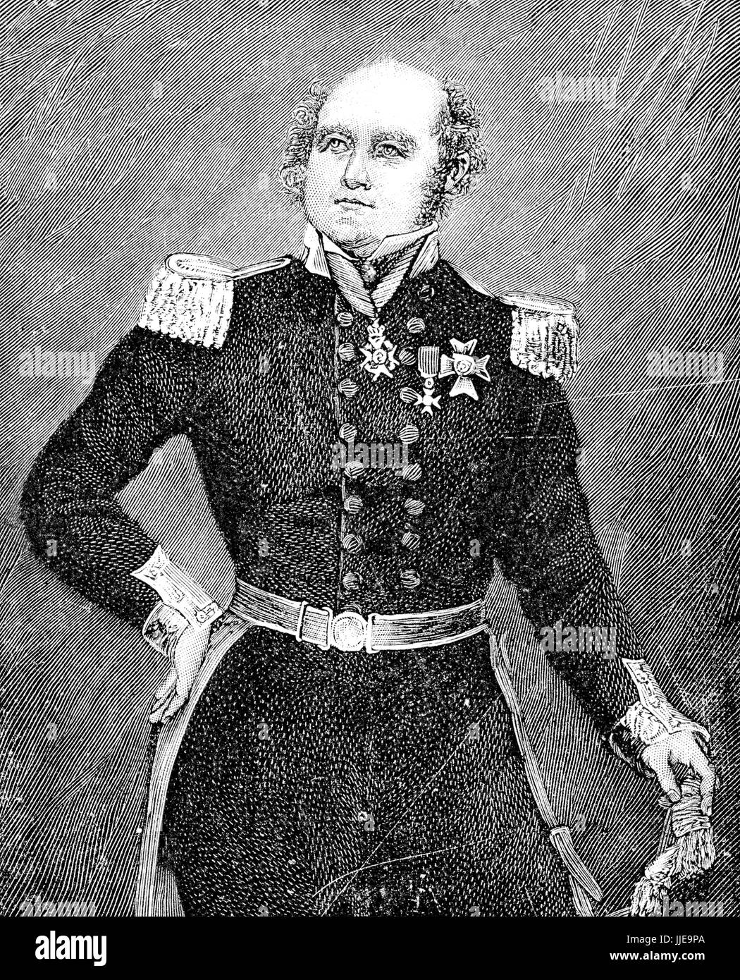 Portrait of Sir John Franklin English Royal Navy officer and explorer of the Arctic, he disappeared on his last - Stock Image