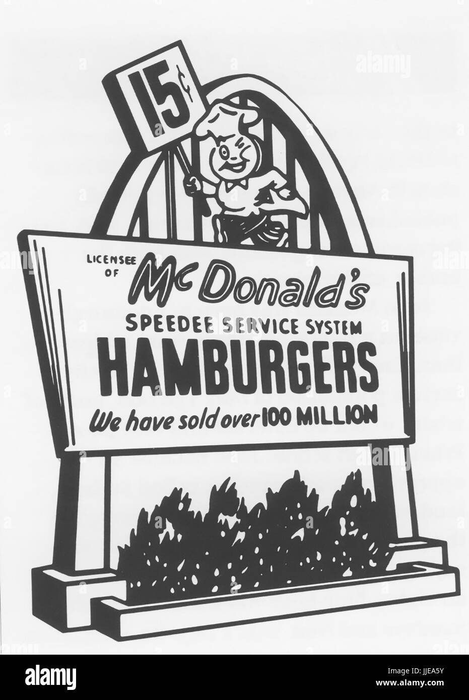 McDONALD'S fast food chain advert about 1953 showing the Speedee chef character - Stock Image
