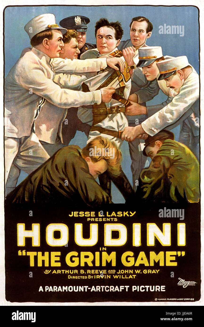THE GRIM GAME 1919 Paramount Pictures silent film with Harry Houdini - Stock Image