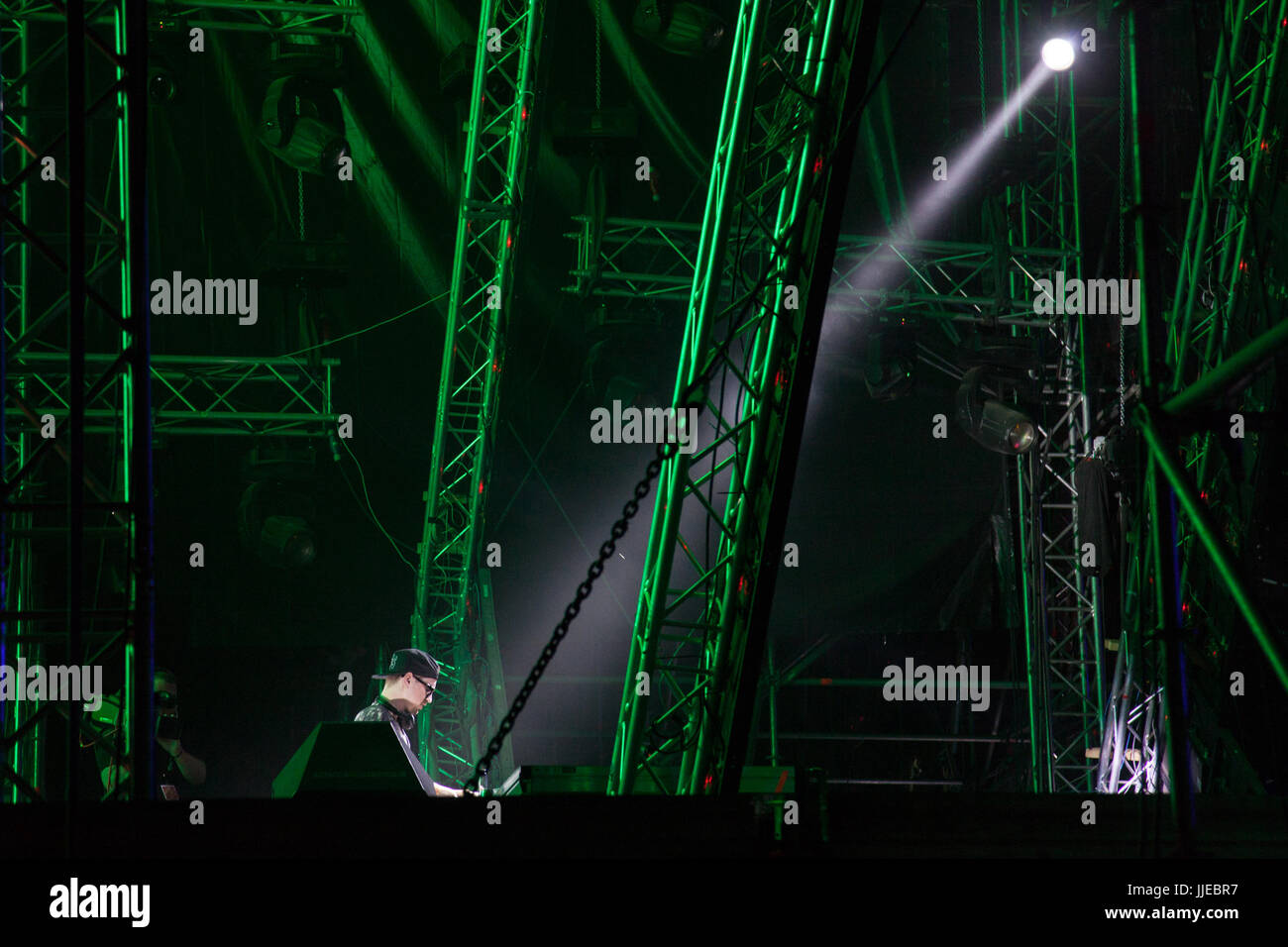 NOVI SAD, SERBIA - JULY 7, 2017: DJ Robin Schulz performing on stage during the 2017 edition of Exit Festival  Picture - Stock Image