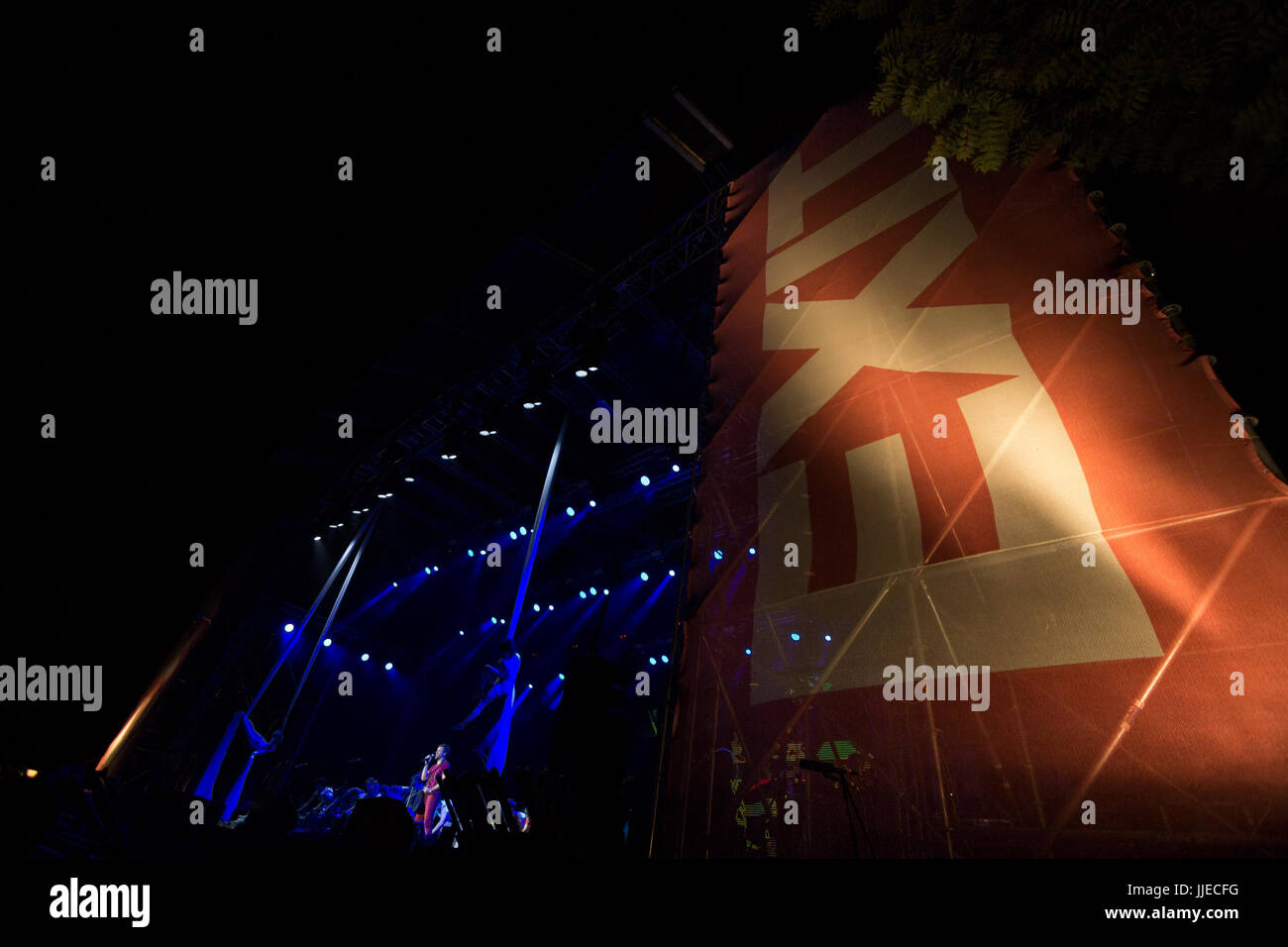 NOVI SAD, SERBIA - JULY 6, 2017: Main stage of the2017 edition of the Exit Festival with its logo on foreground - Stock Image