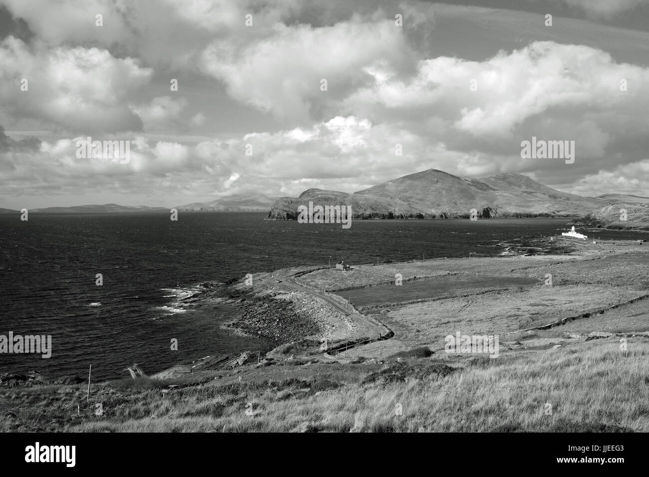 The view down to Valentia Island lighthouse in County Kerry, Ireland - Stock Image