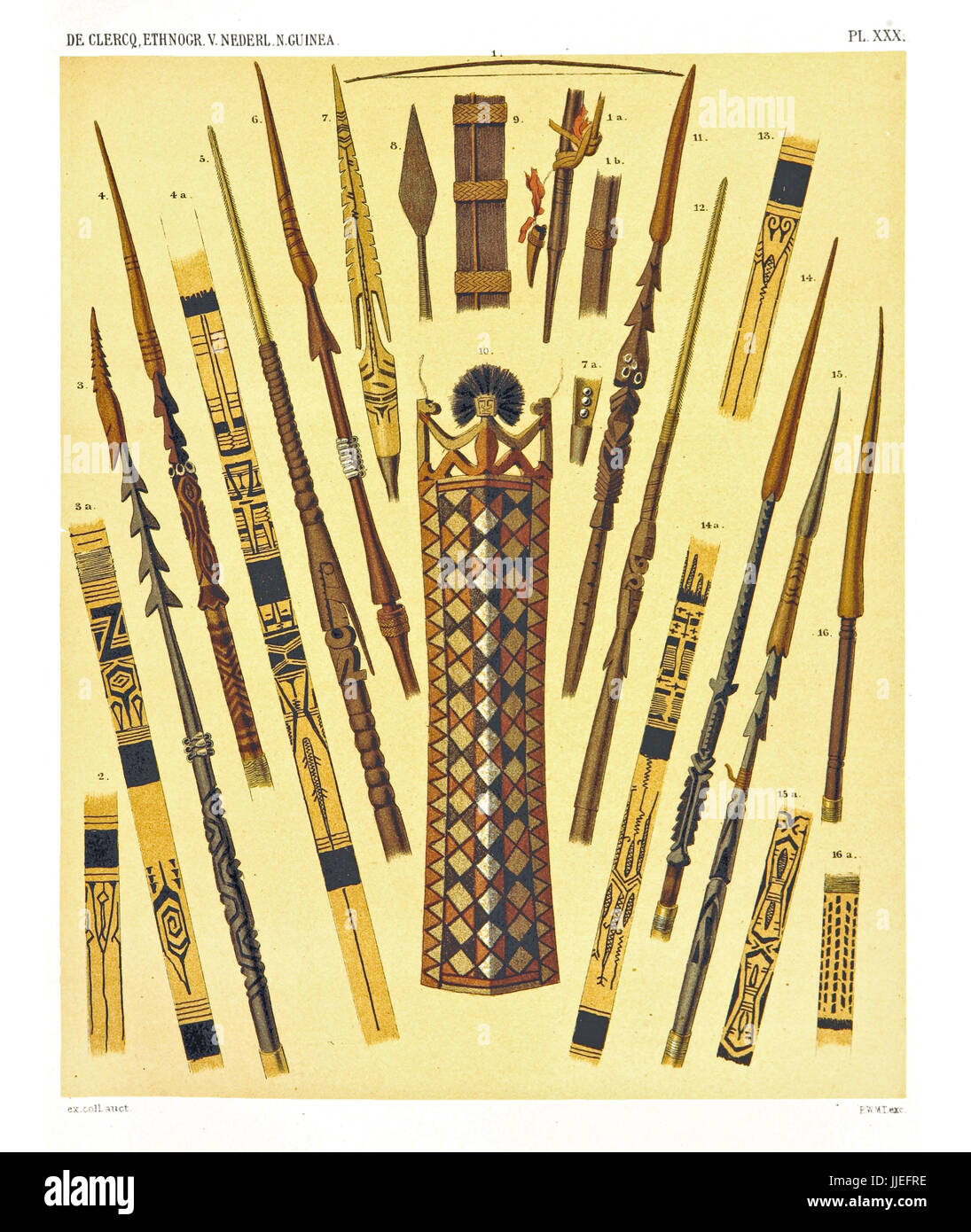 Illustration of ethnic objects from the West and North coast of  Dutch New Guinea. By F.S.A. De Clercq and J.D.E. - Stock Image