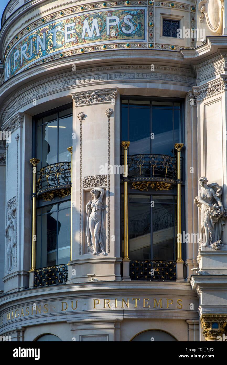 Ornate exterior of Au Printemps - upscale department store along Boulevard Haussmann, Paris, Ile-de-France, France - Stock Image