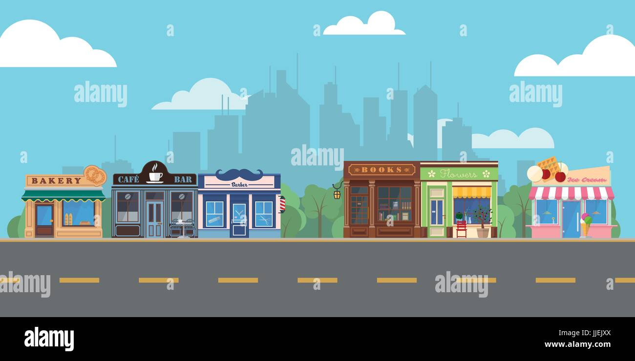 Shops and venues on suburban main street vector illustration Stock Vector