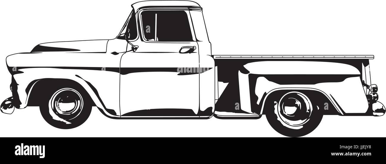 Vector illustration of 1959 Vintage Hot Rod Pickup Truck - Stock Image