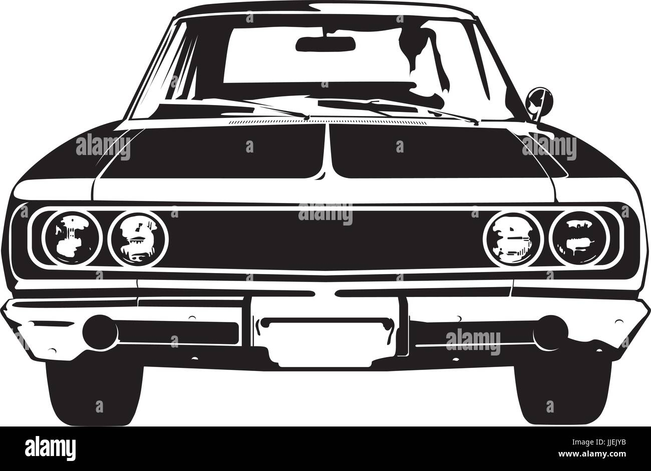 Front view silhouette of vintage american muscle car - Stock Image