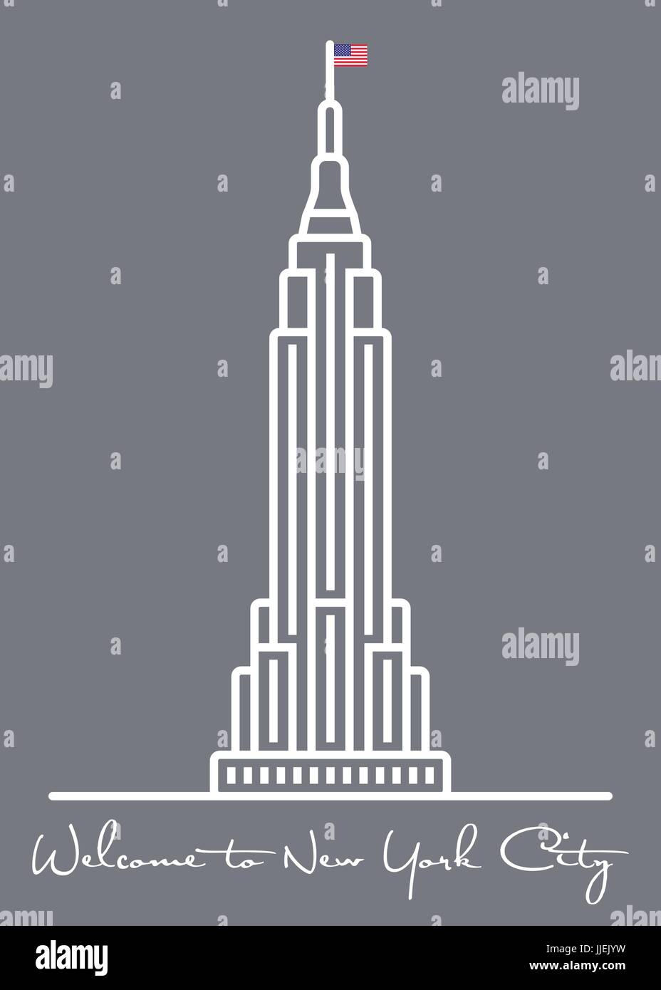 Welcome To New York City Greeting Card With Skyscraper Line Icon
