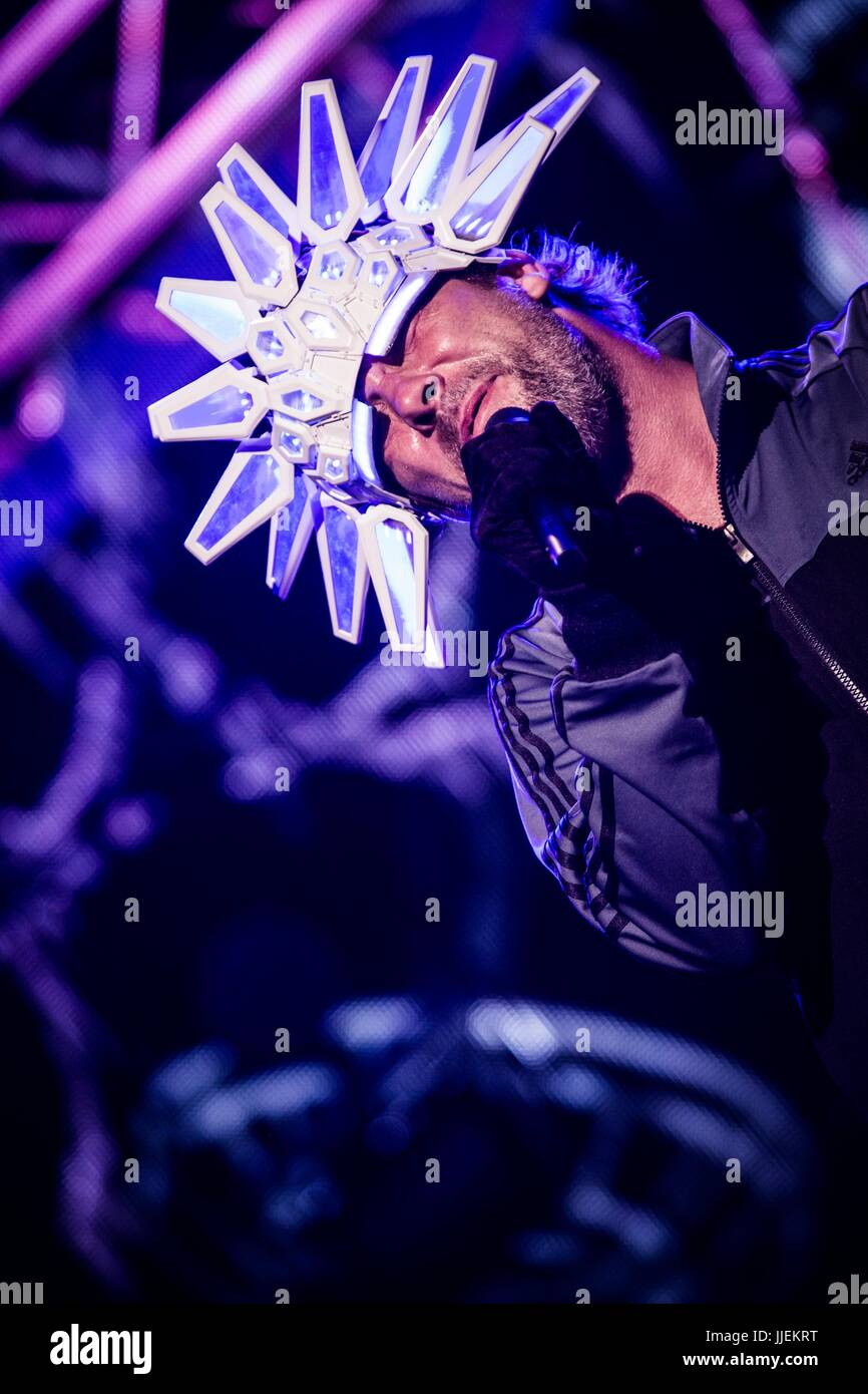 Locarno, Switzerland. 18th July, 2017. Jay Kay of the english acid jazz band Jamiroquai pictured on stage as they - Stock Image
