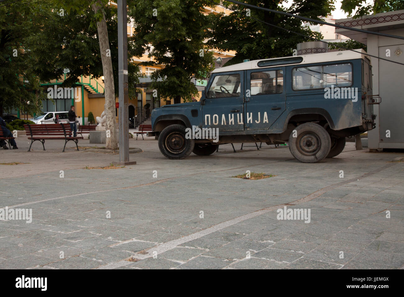 Old macedonian offroad police car - Stock Image