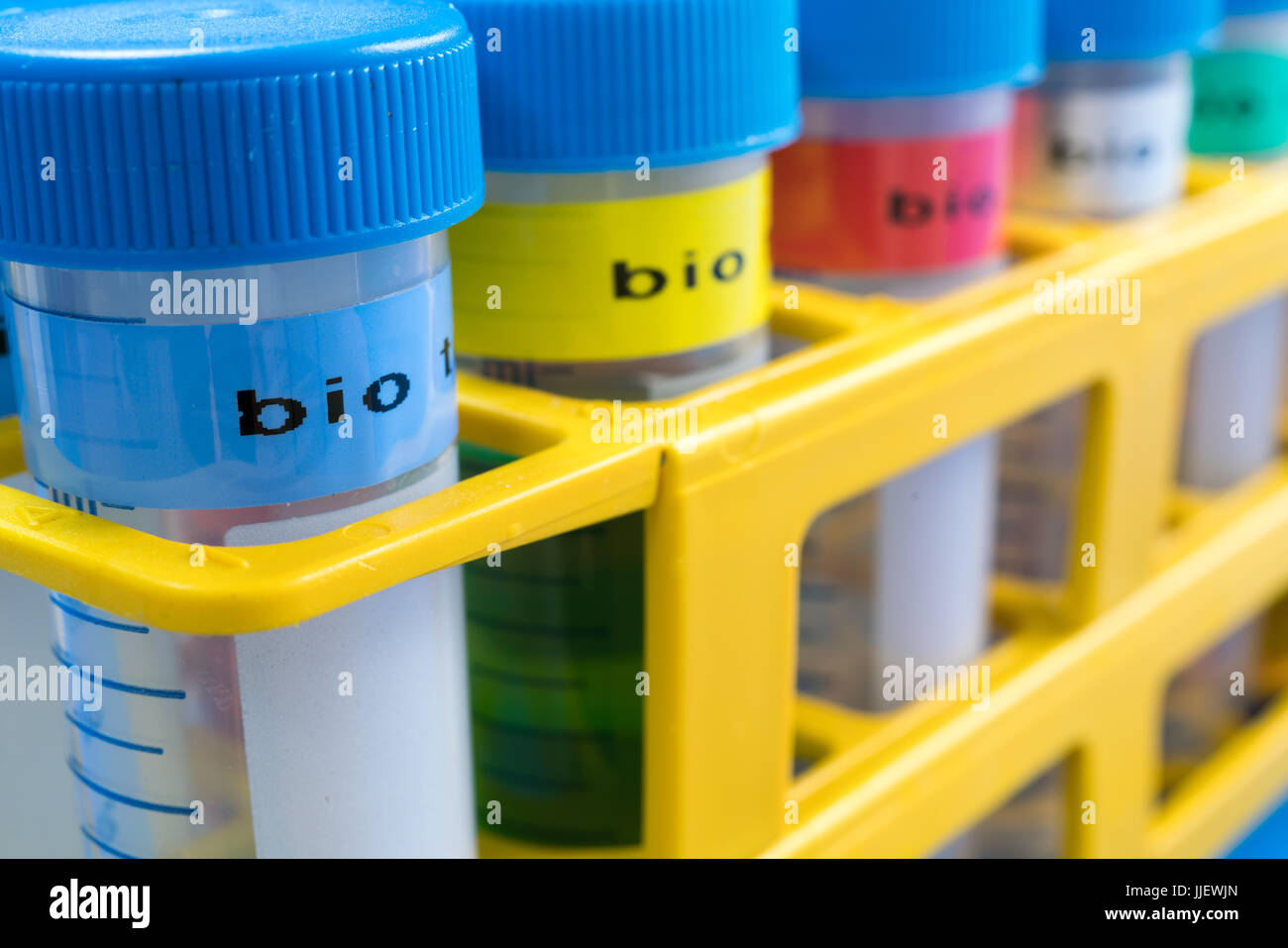 centrifuge test tubes with bio samples for microbial testing - Stock Image