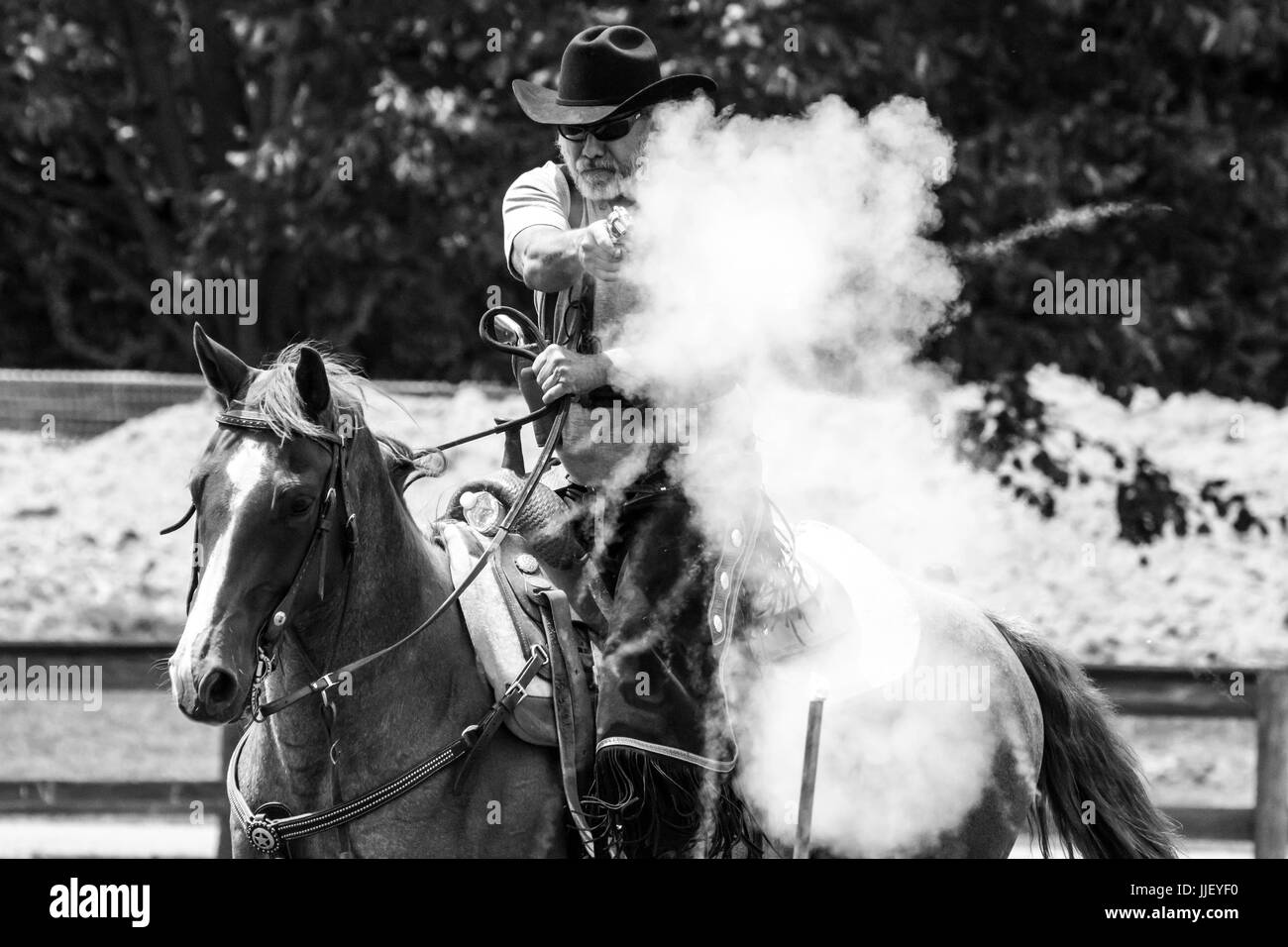 2017 Hudson Valley Gunslingers- Cowboy Mounted Shooting - Stock Image